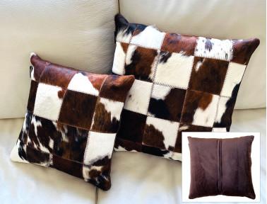 Coussin patchwork en peau de vache Normande simple face avec face arrière en tissu