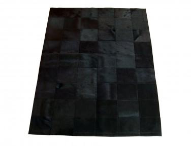Tapis Patchwork en Peau de vache teintée noire