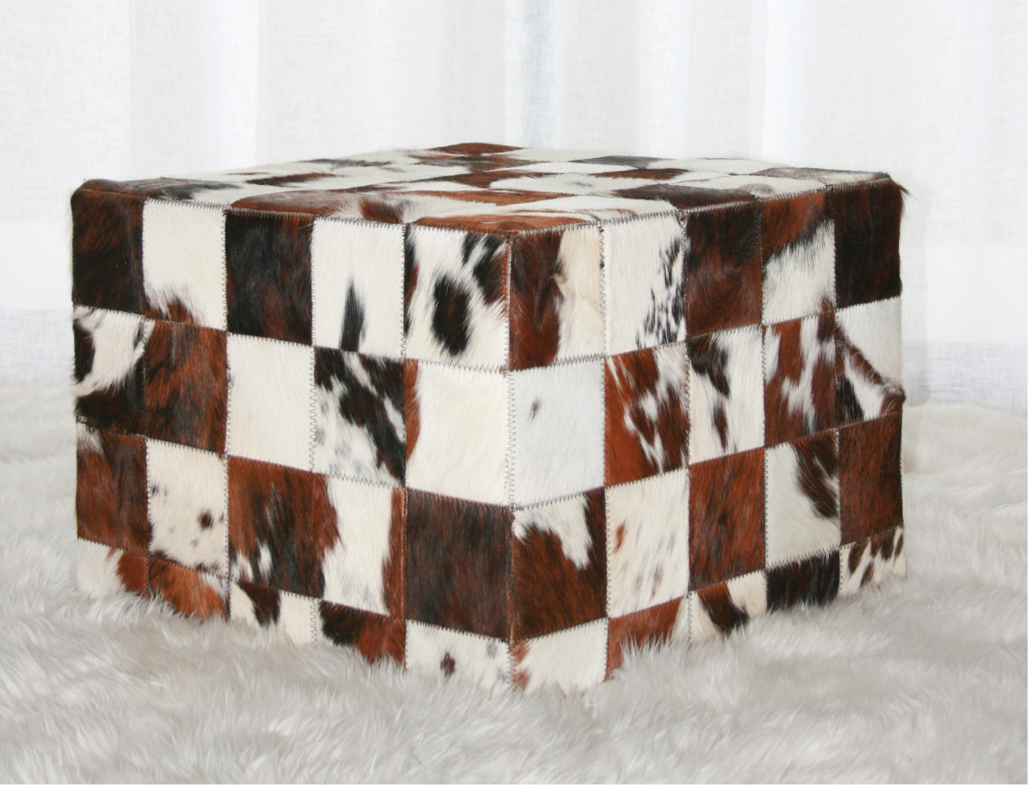 pouf patchwork peau de vache normande made in france. Black Bedroom Furniture Sets. Home Design Ideas