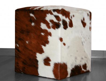 Pouf en Peau de vache Normande haut