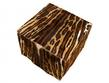 Pouf en peau de Springbok imprimée léopard