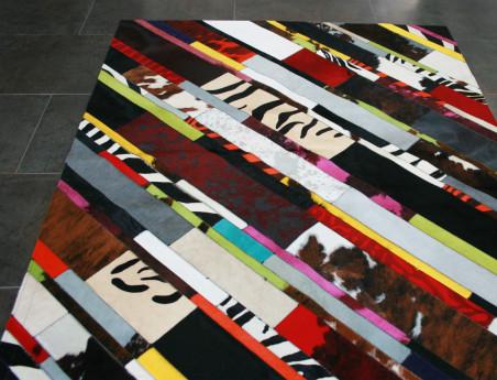 Patchwork Carpet Diagonal Strap in Multicolored Cowhide