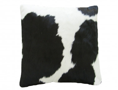 Cushion in cowhide Black & White SIMPLE FACE
