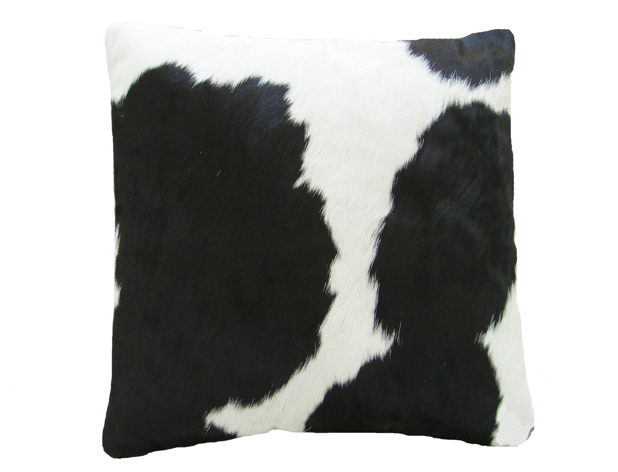 coussin en peau de vache noire blanche simple face. Black Bedroom Furniture Sets. Home Design Ideas