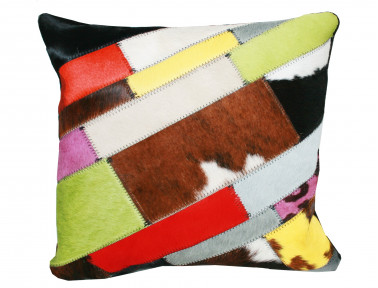 Multicolored Cow Patchwork Patchwork Throw Pillow SIMPLE FACE