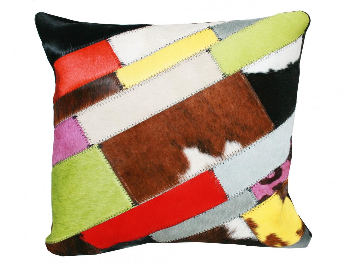 Coussin Patchwork Bandelette en Peau de vache multicolore