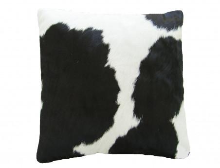 Coussin en peau de vache Noire et Blanche DOUBLE FACE