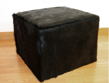 Black stained cowhide pouf