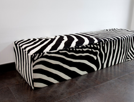 Avalanche bench in cowhide zebra
