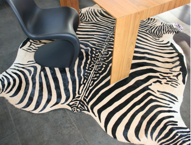 Zebra printed cowhide on beige background