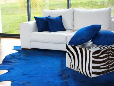 Peau de vache teintée Bleu foncé