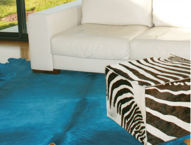 Turquoise blue cowhide