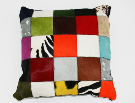 Cowhide Patchwork Cushion Elmer in Multicolored one face cowhide, one face suede
