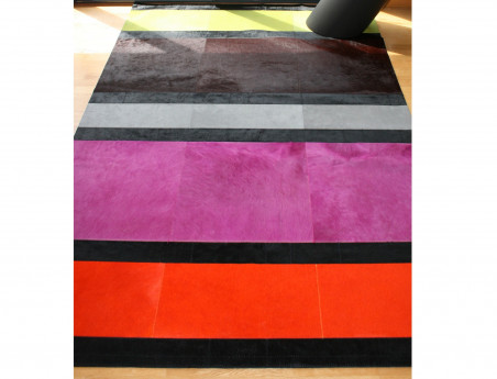 Olympus patchwork rug in multicolored cowhide