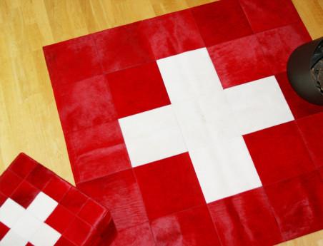 Swiss flag rug in cowhide
