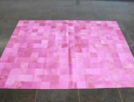 Tapis Patchwork en peau vache rose
