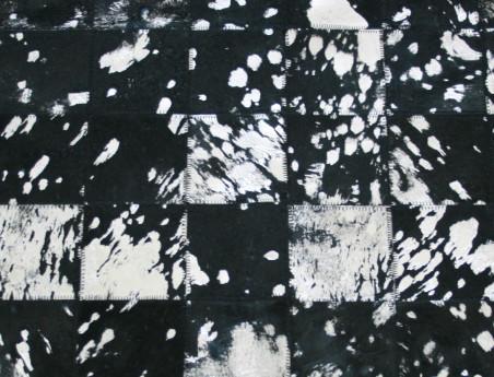 Tapis Patchwork en Peau de vache noire argentée
