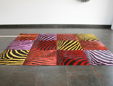 Multicolored zebra patchwork rug