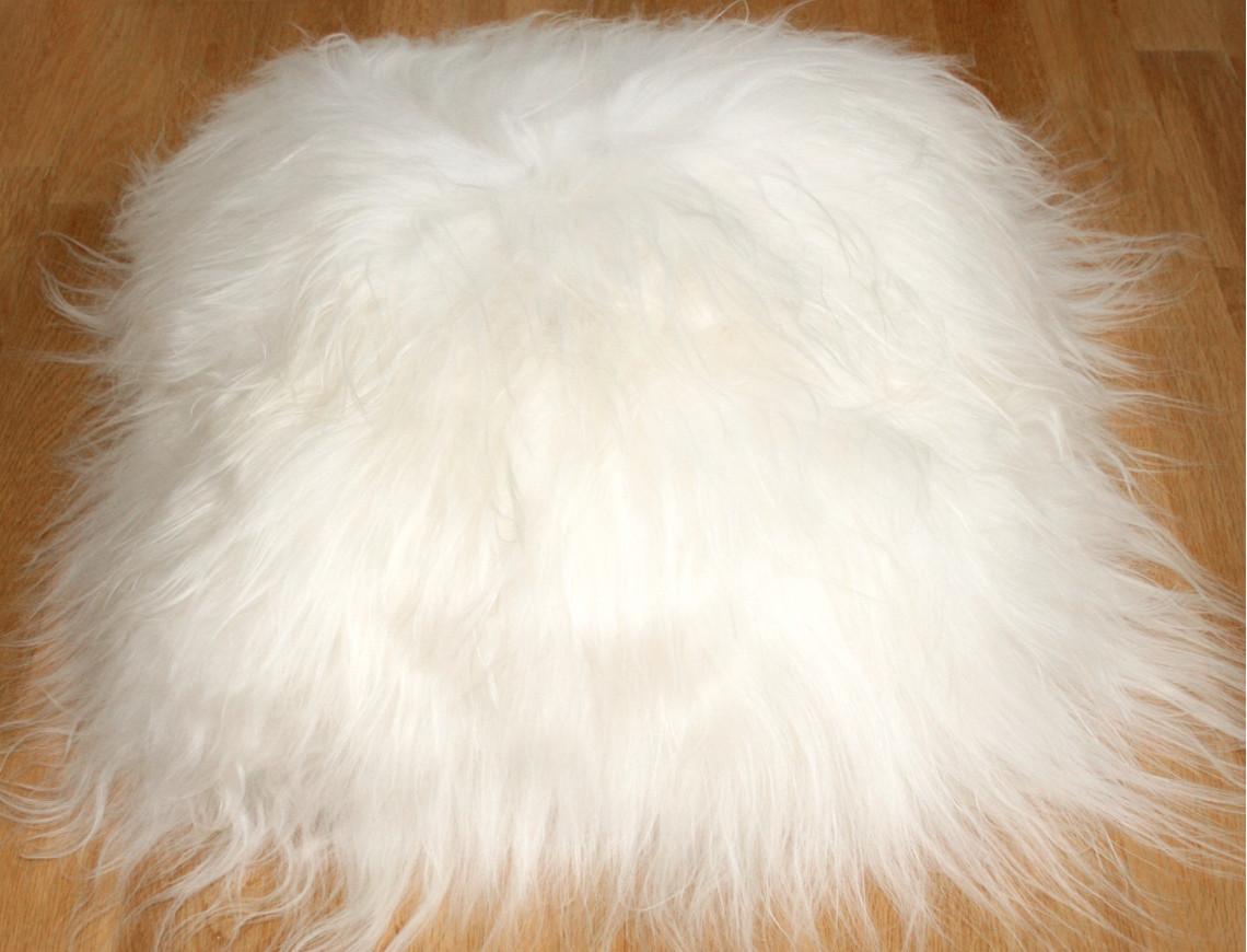 Coussin en mouton Islandais blanc SIMPLE FACE