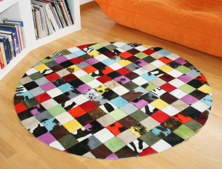 Elmer Round Patchwork Rug in Multicolored Cowhide
