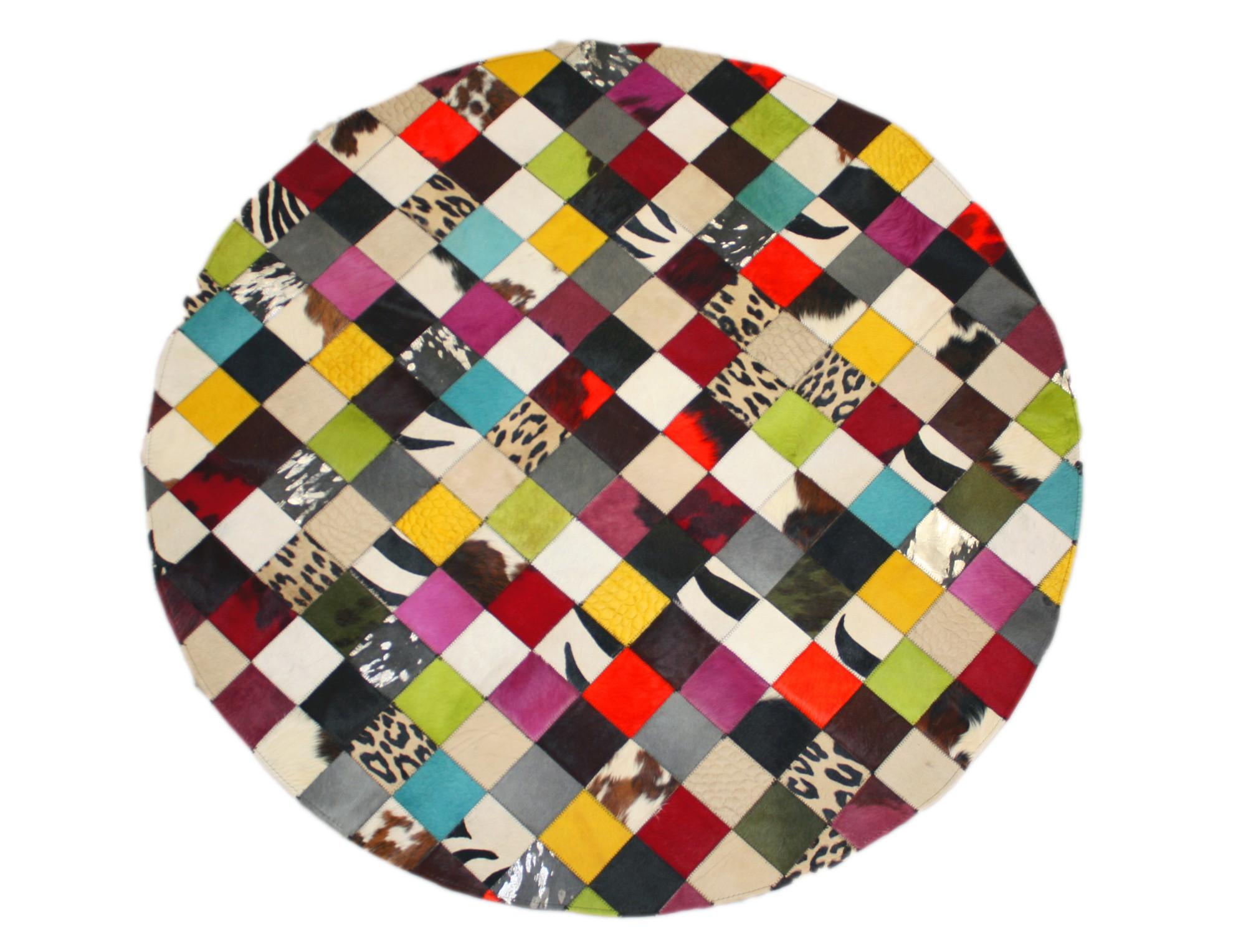 tapis patchwork elmer rond en peau de vache multicolore. Black Bedroom Furniture Sets. Home Design Ideas