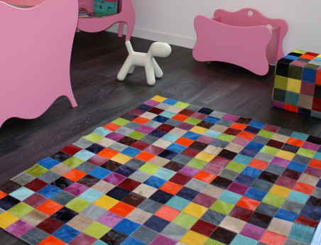 Elmer Patchwork Rug in Multicolored Solid Cowhide