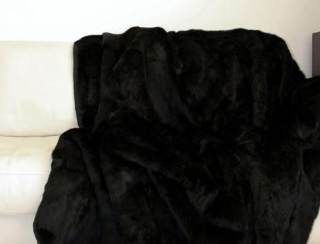 Dessus de lit noir en fourrure de lapin