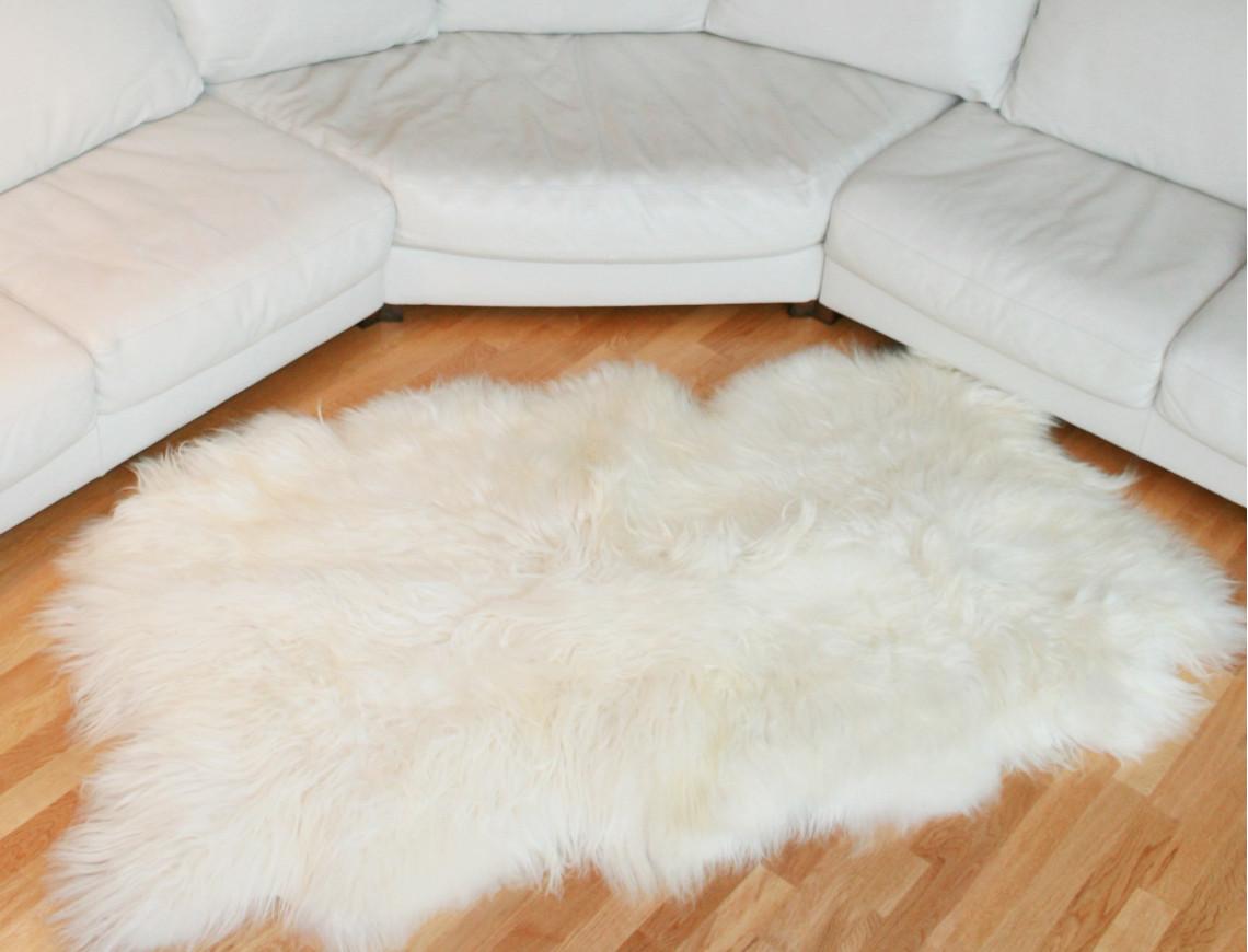 Tapis en peau de mouton islandais blanc - Tapis fausse fourrure pas cher ...