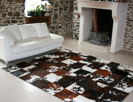 Patchwork rug in Norman cowhide