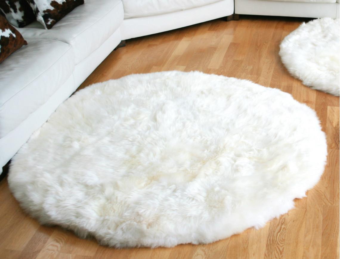 Tapis en peau de mouton rond