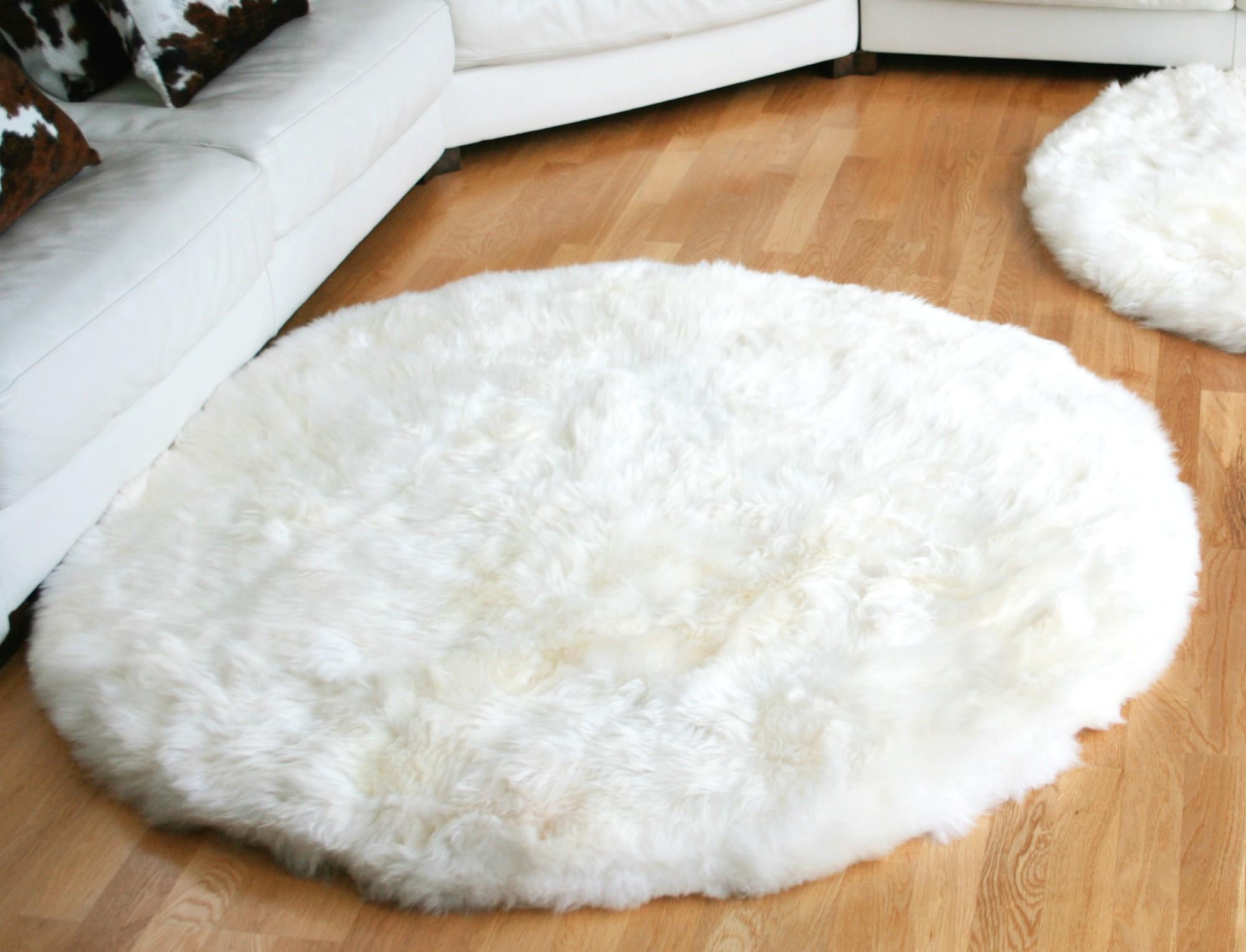 Tapis en peau de mouton rond - Tapis poil long blanc ...