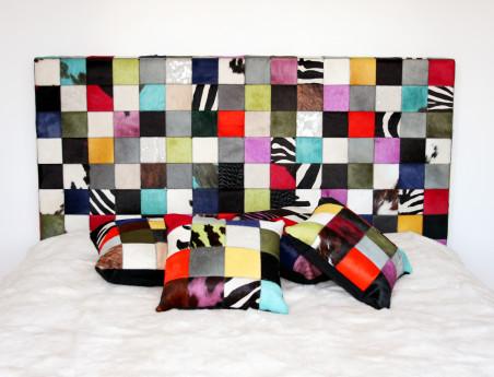 Elmer multicolored cowhide headboard