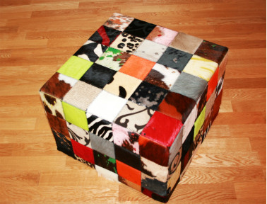 Elmer patchwork pouf in multicolored cowhide