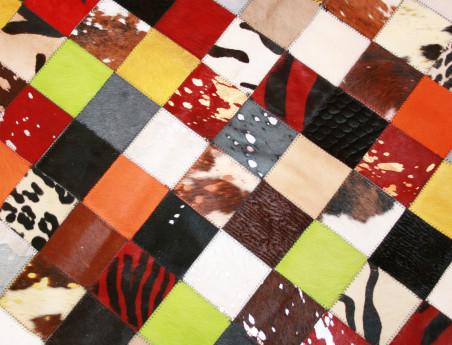 Pouf patchwork Elmer en Peau de vache multicolore