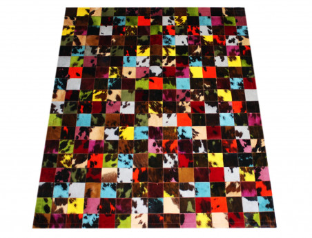 Patchwork rug natural cow tinted in 10 cm tiles