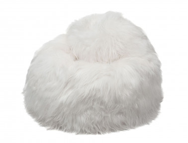 Pear pouf in white Icelandic sheep
