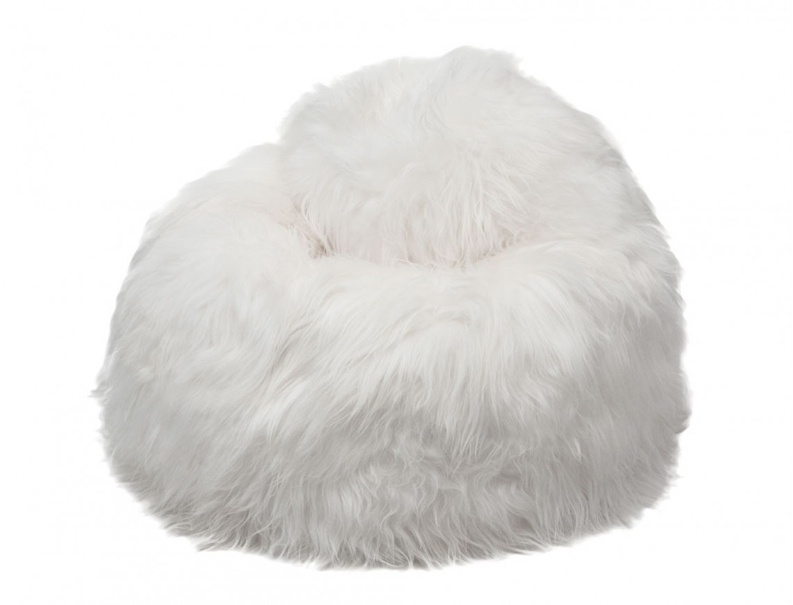 Pouf poire en mouton Islandais blanc