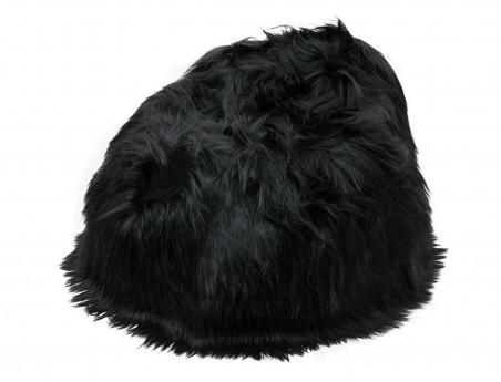Pouf poire en mouton Islandais noir