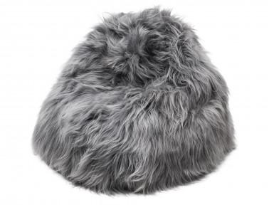 Pouf poire en mouton Islandais teinté gris