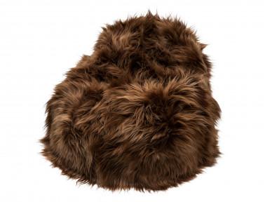 Pouf poire en mouton Islandais teinté marron