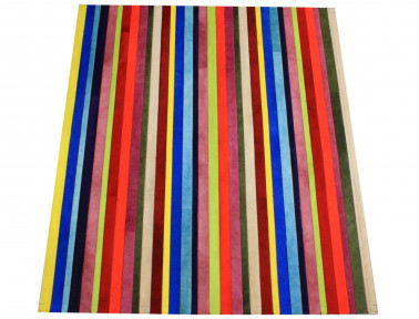 """Tapis Patchwork bandelettes multicolores """"Smile"""" en Peau de vache"""