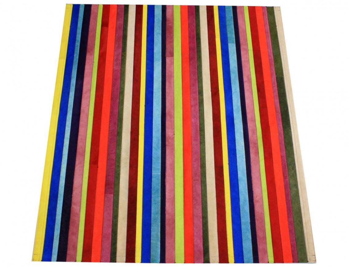 Tapis Patchwork bandelettes multicolores en Peau de vache