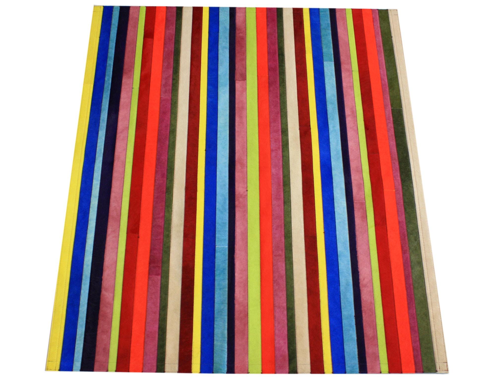 tapis patchwork bandelettes multicolores smile en peau de vache. Black Bedroom Furniture Sets. Home Design Ideas