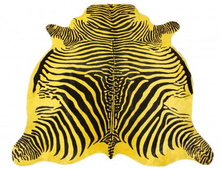 Yellow zebra cowhide