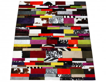 Tapis Patchwork Bandelette en Peau de vache multicolore