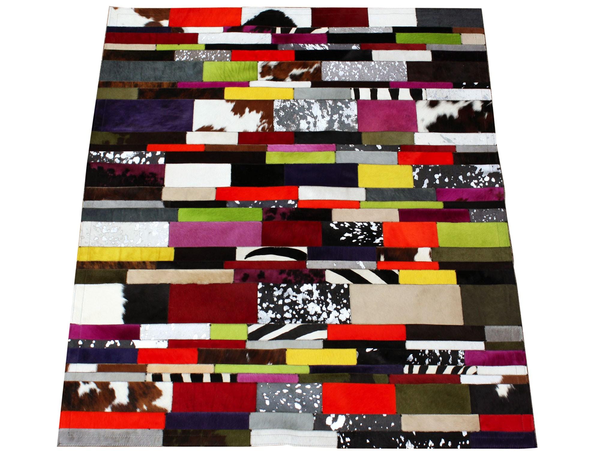 tapis patchwork bandelette en peau de vache multicolore. Black Bedroom Furniture Sets. Home Design Ideas