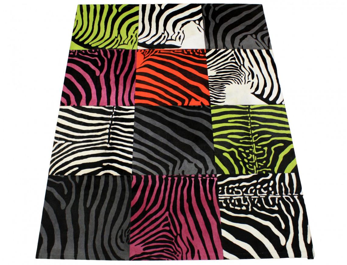 Tapis Patchwork zebre multicolore