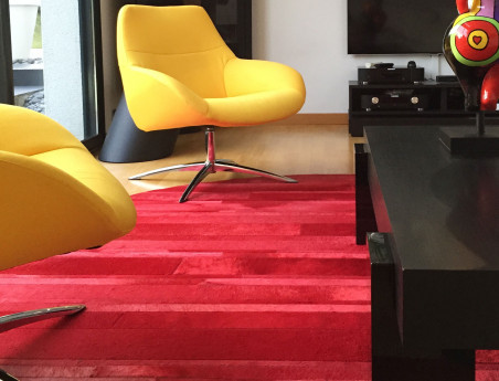 Patchwork Carpet Round Bandelette in Cowhide