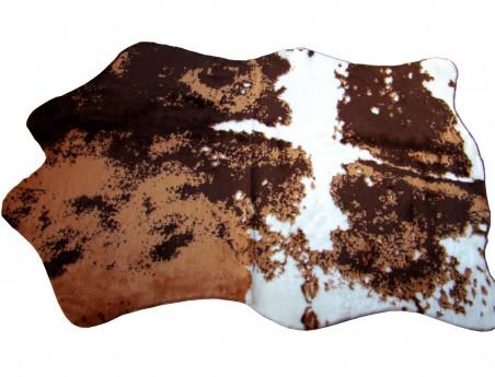 Tapis imitation vache synthétique marron et blanc