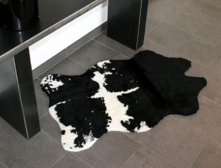 Tapis imitation vache synthétique noir et blanc